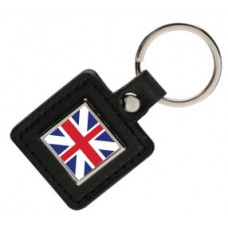 Faux Leather Square Keyring