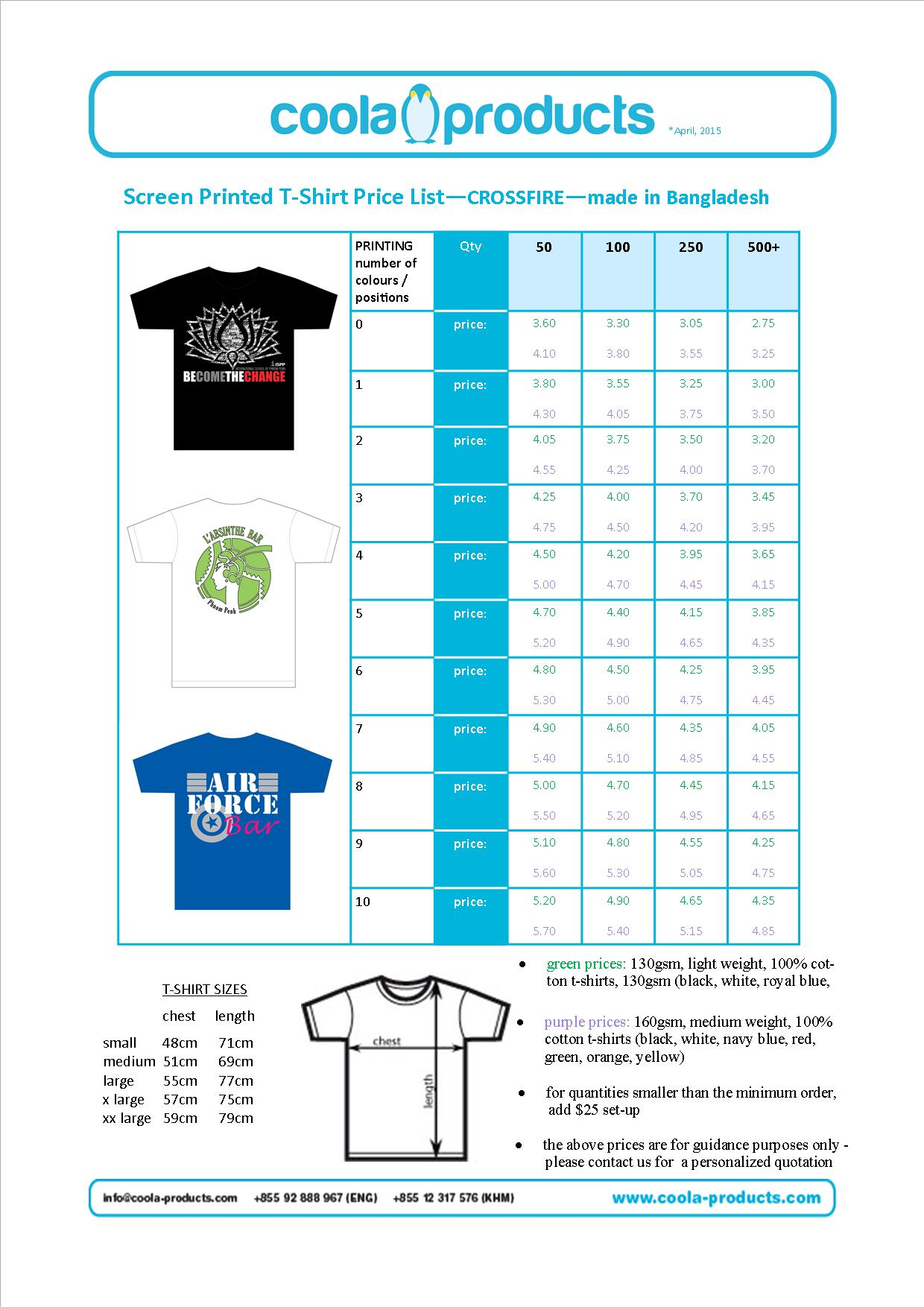 Screen printed t shirts for Cost to screen print t shirts